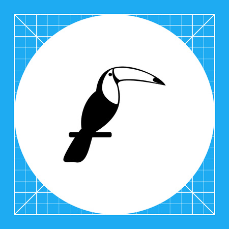zoology: Exotic bird toucan sitting on perch. Summer, animal, jungle. Bird concept. Can be used for topics like tourism, nature, zoology. Illustration