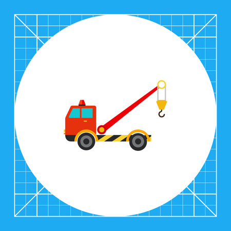 wrecker: Multicolored vector icon of tow truck with crane Illustration