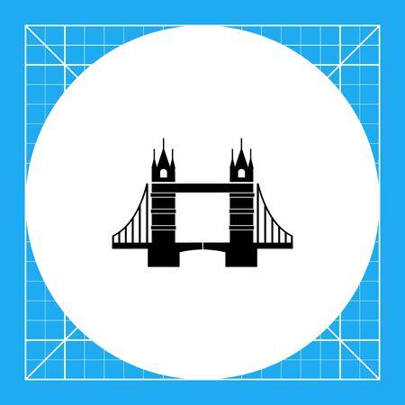 drawbridge: London Tower Bridge silhouette monochrome vector icon