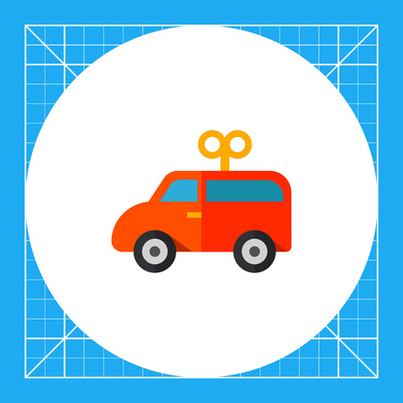 game drive: Multicolored vector icon of red wind-up toy car Illustration