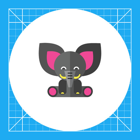 baby playing toy: Multicolored vector icon of cute gray toy elephant Illustration