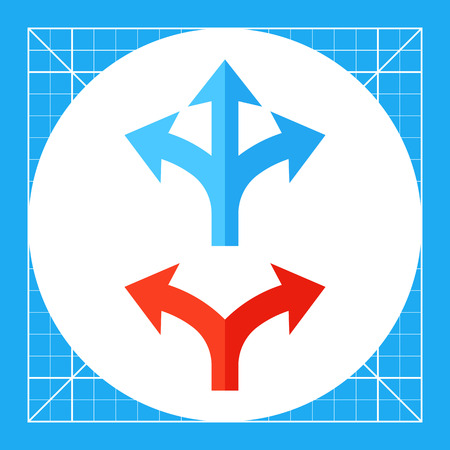 Illustration of two and three way arrows. Direction, intersection, pointer, signboard. Direction concept. Can be used for topics like direction signs, signboard, computer, roadway, Internet