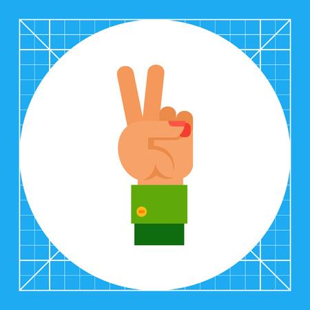 comunicacion no verbal: Ilustración de la mano izquierda con dos dedos hacia arriba. gesto de la mano, número, los dedos. concepto gesto de la mano. Puede ser utilizado para temas como el gesto de la mano, el conteo, la comunicación no verbal Vectores