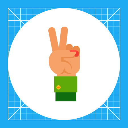 Illustration of left hand with two fingers up. Hand gesture, number, fingers. Hand gesture concept. Can be used for topics like hand gesture, counting, nonverbal communication Illustration