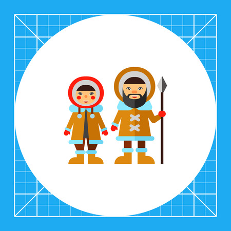 Eskimo man with spear and woman wearing fur coat with hood. Snow, cold, national. Eskimo concept. Can be used for topics like traditions, north, culture. Illustration