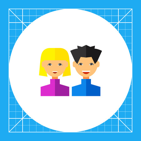 Young man and woman smiling. Target group, satisfaction, feedback. Users concept. Can be used for topics like business, advertisement, marketing.