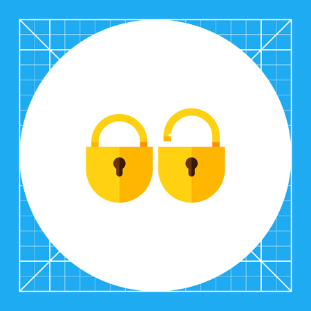 Two locks, locked and unlocked. Secret, access, protection. Lock concept. Can be used for topics like business, marketing, equipment.