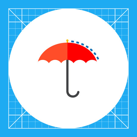 Red umbrella with rain drops. Meteorology, precipitations, rainy weather. Meteorology concept. Can be used for topics like weather, meteorology, science