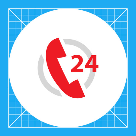 Icon of twenty-four hour support service with telephone receive in circle Illustration