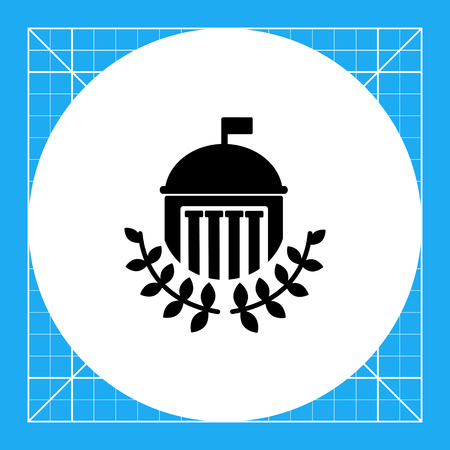 University building with dome, flag, columns and laurel leaves. Study, institution, knowledge. University concept. Can be used for topics like education, teaching, training, architecture.