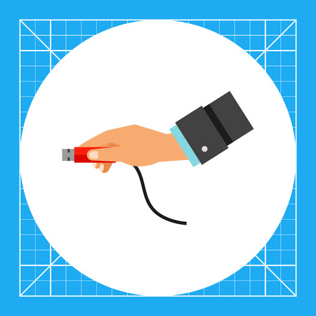 Multicolored vector icon of USB plug being inserted by human hand