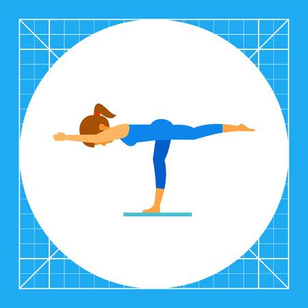 sport mats: Woman doing yoga in virabhadrasana pose, side view. Exercise, strength, balance. Asana concept. Can be used for topics like yoga, health, fitness. Illustration