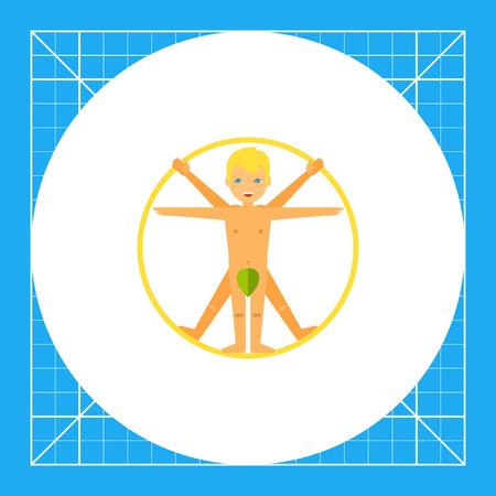 leonardo da vinci: Cartoon blonde smiling Vitruvian man. Proportion, Leonardo da Vinci, classic. Vitruvian man concept. Can be used for topics like study, teaching, education, renaissance.