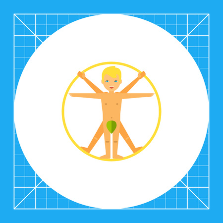 Cartoon blonde smiling Vitruvian man. Proportion, Leonardo da Vinci, classic. Vitruvian man concept. Can be used for topics like study, teaching, education, renaissance.