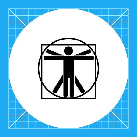 leonardo da vinci: Minimalistic Vitruvian man. Study, proportion, classic, knowledge. Vitruvian man concept. Can be used for topics like education, teaching, training. Illustration