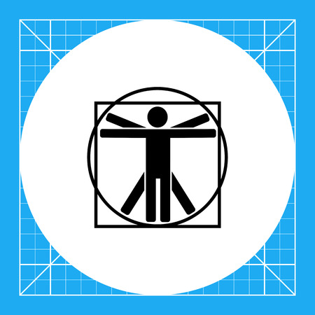 Minimalistic Vitruvian man. Study, proportion, classic, knowledge. Vitruvian man concept. Can be used for topics like education, teaching, training. Illustration