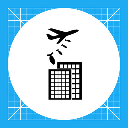 bombing: Military aircraft bombing buildings. Explosion, terror, rocket. War concept. Can be used for topics like technology, war, military science.