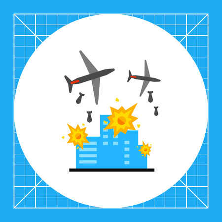War flat icon. Vector illustration of military aircrafts bombing buildings