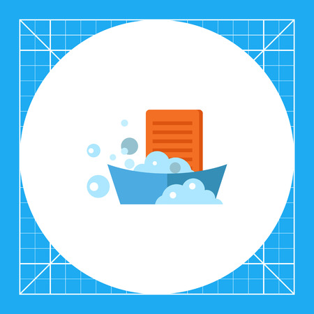washboard: Washboard in basin with foam. Water, soap, clean. Washing concept. Can be used for topics like chemistry, housekeeping, marketing. Illustration