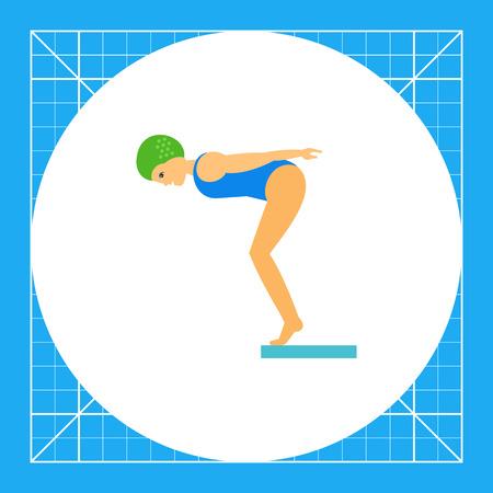 La mujer que salta fuera de trampolín. Agua, profesional, piscina. concepto de salto del agua. Puede ser utilizado para temas como el deporte, la salud, las competiciones. Vectores