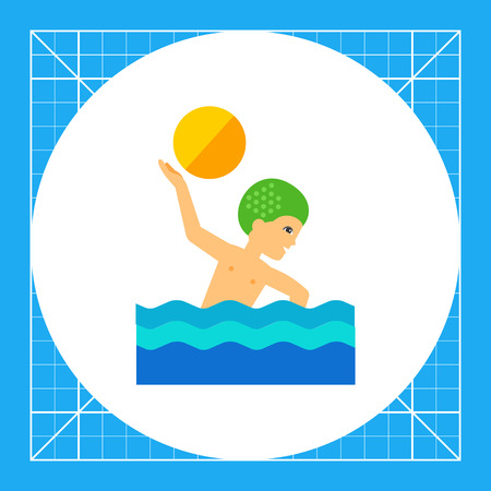 Water polo player swimming and throwing ball. Water, team, pool. Water polo concept. Can be used for topics like sport, health, competitions. Illustration