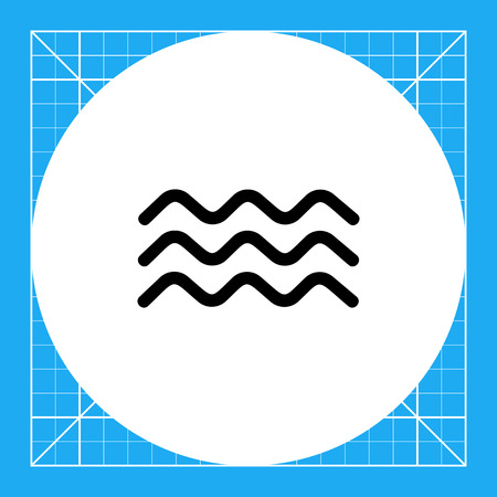 squiggly: Monochrome vector icon of three squiggly lines representing water waves