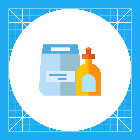 washing powder: Washing powder and liquid soap in bottle. Water, laundering, clean. Washing concept. Can be used for topics like chemistry, housekeeping, marketing. Illustration