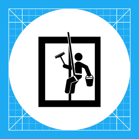 window cleaner: Person washing window. Cleaning, service, window cleaner. Cleaning concept. Can be used for cleaning services, logo, work