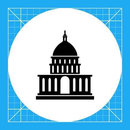 Vector icon of White House silhouette, USA President residence Illustration