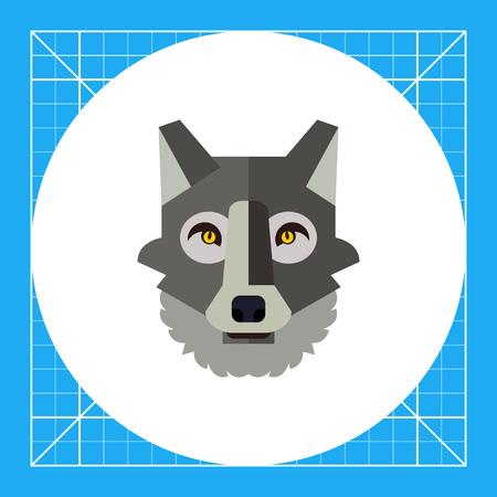 grey wolf: Multicolored vector icon of grey wolf head