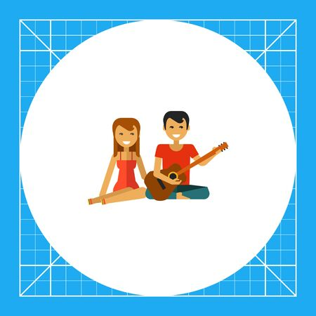 Multicolored vector icon of woman sitting and man playing guitar Illustration