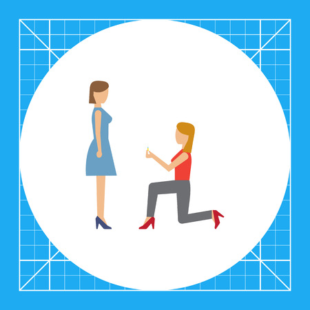 Icon of woman standing on her knee in front of woman and giving ring