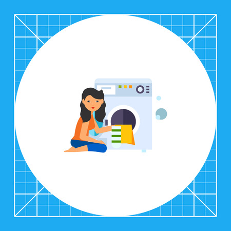 dirty clothes: Woman putting dirty clothes into washing machine. Automatic, laundering, clean. Washing concept. Can be used for topics like chemistry, housekeeping, technology.