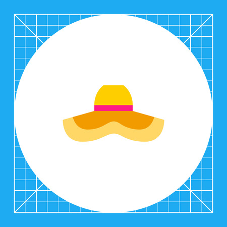 Woman wide-brimmed hat protecting from sun. Heat, beach, fashion. Woman summer hat concept. Can be used for topics like summer, vacation, headwear.