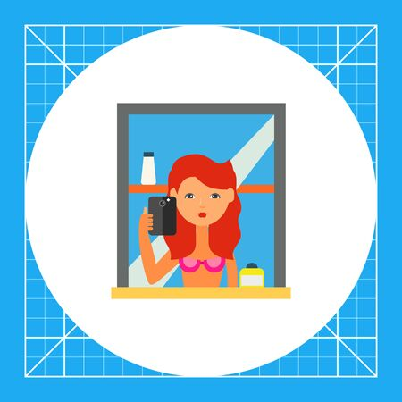 Female character taking selfie in mirror. Portrait, memory, gadget. Selfie concept. Can be used for topics like social media, technology, gadgets.