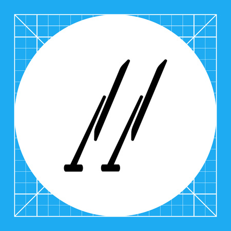 wipers: Monochrome vector icon of two automobile windscreen wipers
