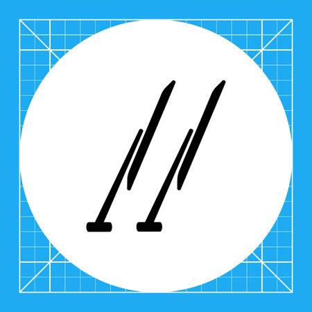 windshield wiper: Monochrome vector icon of two automobile windscreen wipers