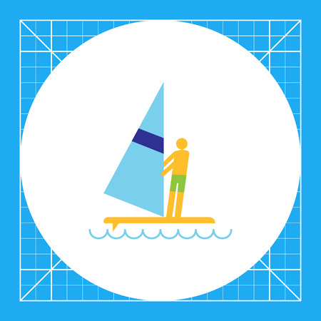 Icon of mans silhouette standing on surfboard