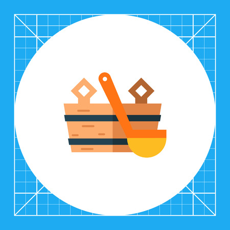 Multicolored vector icon of wooden bucket and water scoop