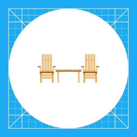 Two wooden garden chairs and table. Domestic, relaxation, comfortable. Furnishing concept. Can be used for topics like furniture, interior design, marketing.