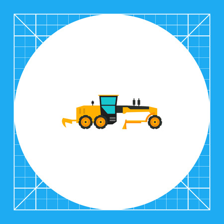 movers: Multicolored vector icon of yellow construction road grader