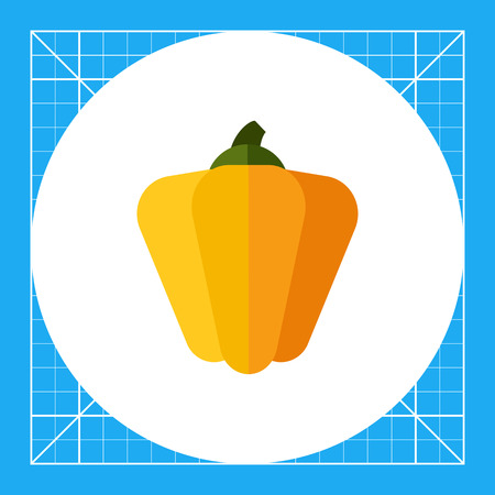 paprika: Multicolored vector icon of whole yellow paprika