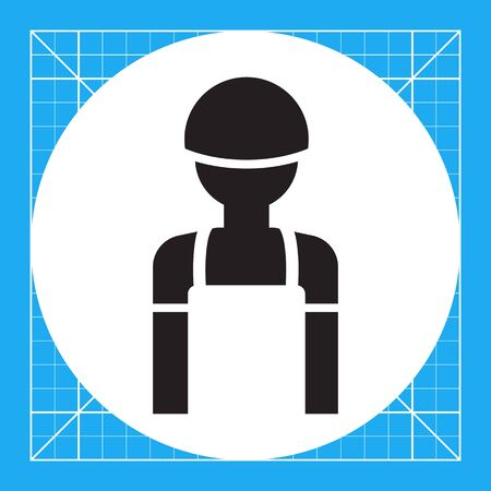 overalls: Icon of man silhouette wearing overalls and hardhat Illustration