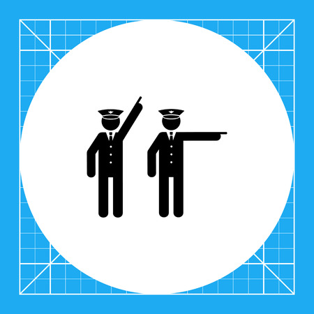 enforcer: Two policemen pointing. Occupation, protection, arresting. Police concept. Can be used for topics like police, law, criminality. Illustration