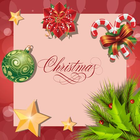 Merry Christmas lettering. Christmas greeting card with poinsettia, candy canes and fir tree twigs. Handwritten text, calligraphy. For greeting cards, posters, leaflets and brochures.
