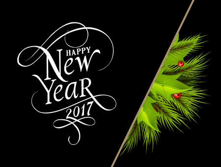 Happy New Year 2017 lettering. New Year Day greeting card with division, fir tree twigs and mistletoe. Typed text. For greeting cards, posters, leaflets and brochures. Illustration