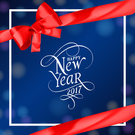 Happy New Year 2017 lettering in frame. New Year Day greeting card with wrapping ribbon and bow. Typed text. For greeting cards, posters, leaflets and brochures.