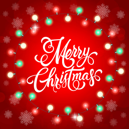Merry Christmas lettering. Christmas greeting card with round lights garland. Handwritten text, calligraphy. For greeting cards, posters, leaflets and brochures. Vettoriali