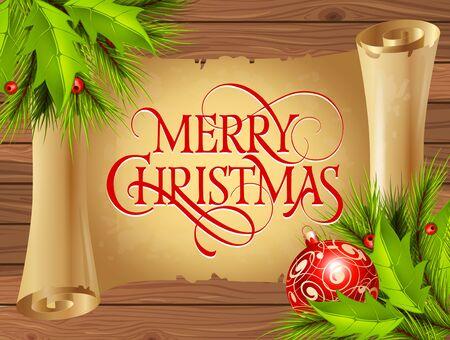 스크롤에 메리 크리스마스 글자. 크리스마스 인사말 카드 전나무 나뭇 가지, 지팡이 및 미 슬 토. 입력 된 텍스트. 인사말 카드, 포스터, 전단지 및 팜플렛.