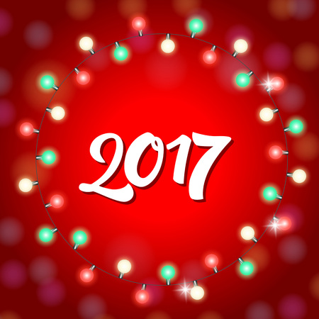 Christmas greeting card with 2017 lettering in round lights garland. Handwritten text, calligraphy. For greeting cards, posters, leaflets and brochures. Vettoriali